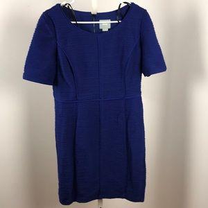 Anthropologie Maeve blue caspian sheath dress 12p